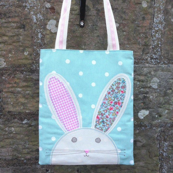 Easter Bunny Egg Hunt Bag - Seafoam Dotty by Ticketty Boo
