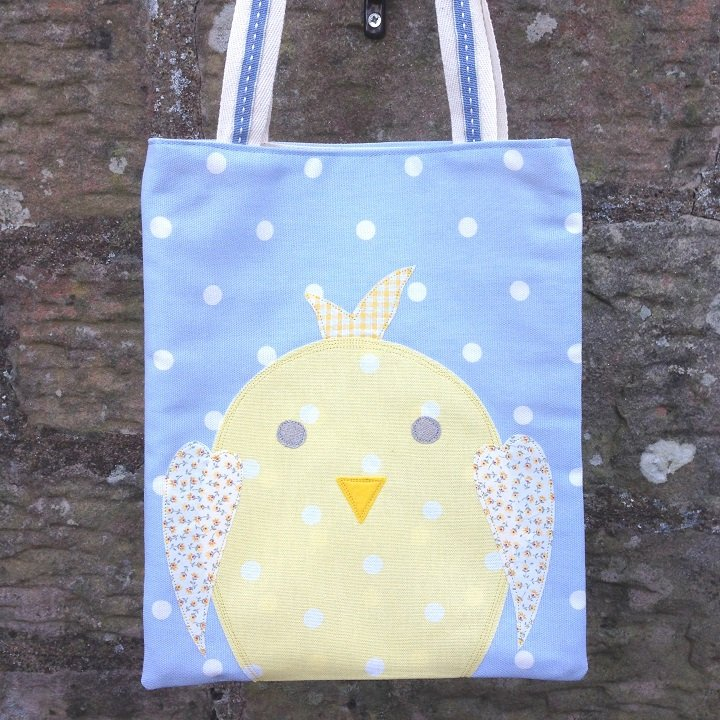 Easter Chick Egg Hunt Bag - Powder Blue Dotty by Ticketty Boo