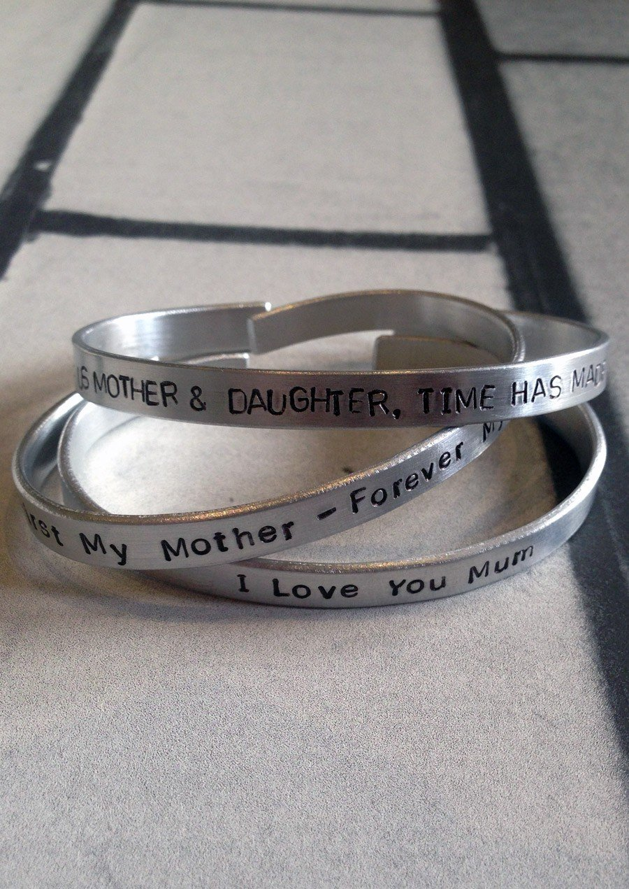 Hand Stamped Cuff Bracelet For Mum (1)