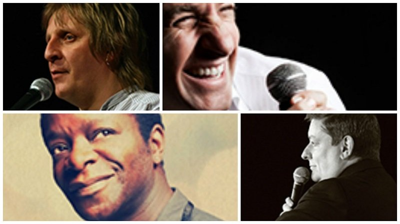 Clockwise from top left: John Mann, Tom Stade, Stephen K. Amos, John Moloney