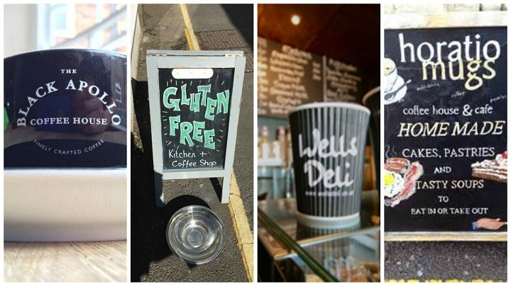 Grab a cup of Joe at Black Apollo, The Gluten Free Coffee Shop, Wells Deli or Horatio Mugs