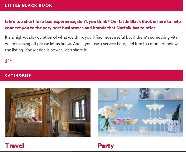 A screenshot of the newly-designed Little Black Book