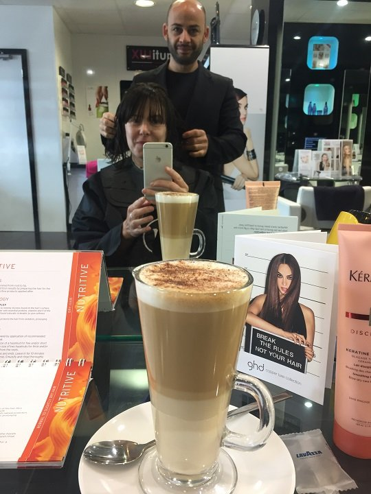 Max assesses my hair while I drink lovely coffee