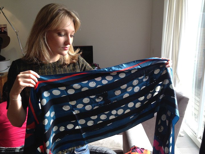 Jacynth at the pop-up with a Bianca Elgar silk scarf