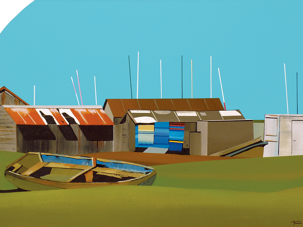 painting boats blue sky norfolk coast