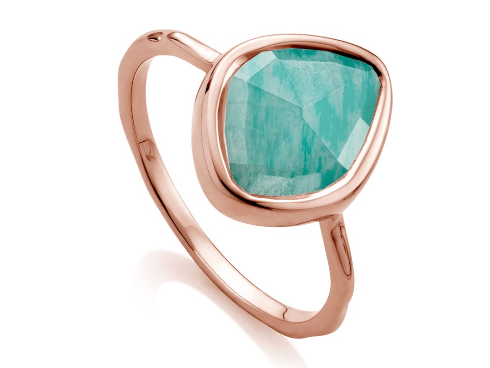rose gold ring with green amazonite stone