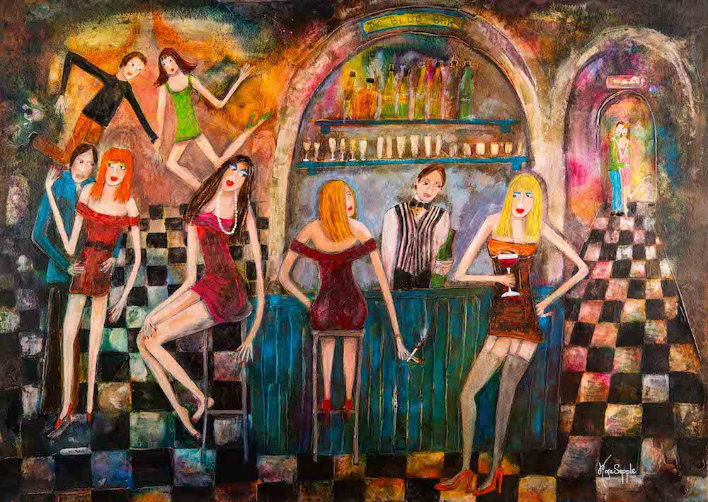 painting ladies drinking smoking bar black and white floor dancing