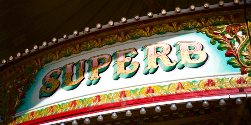 superb circus sign bright colourful lights