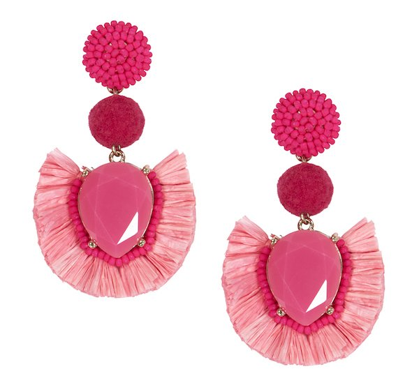 pink statement feather earrings