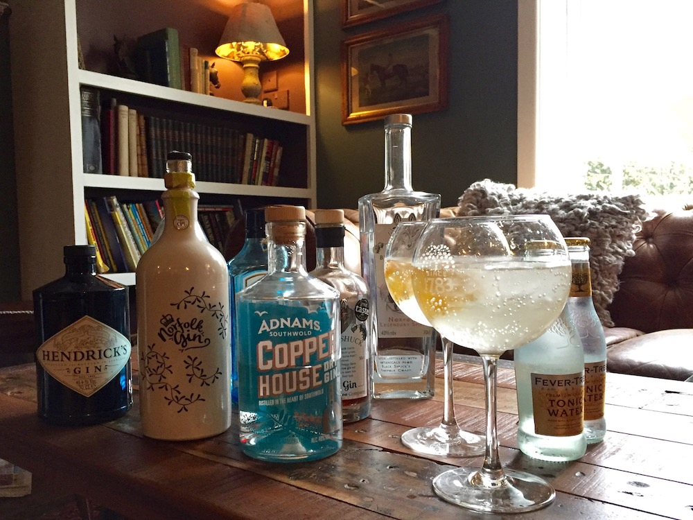 copper house gin norfolk gin gin glasses lemon pub table
