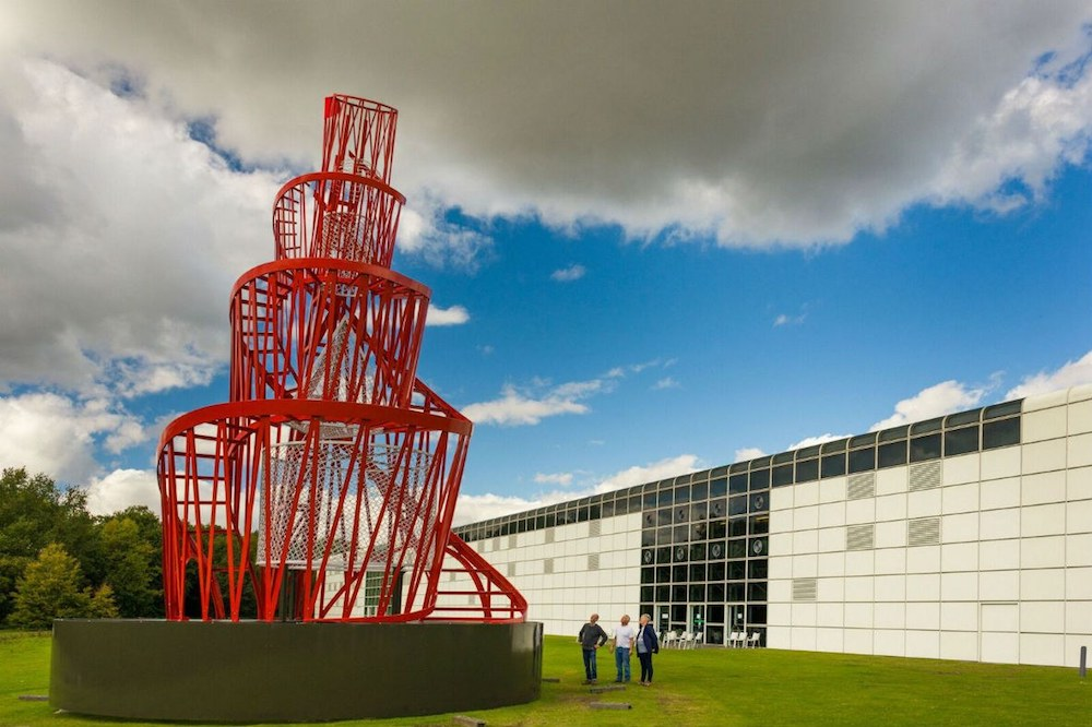 red metal sculpture Sainsbury centre
