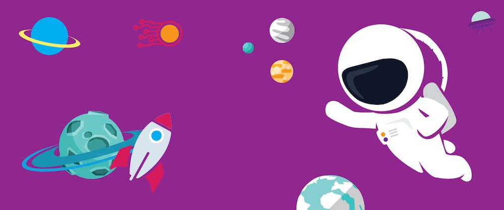 cartoon astronaut white suit planets spaceship
