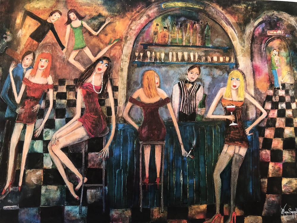 painting of ladies drinking at a bar