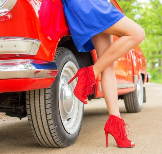 red ankle boots blue mini skirt red car tyre