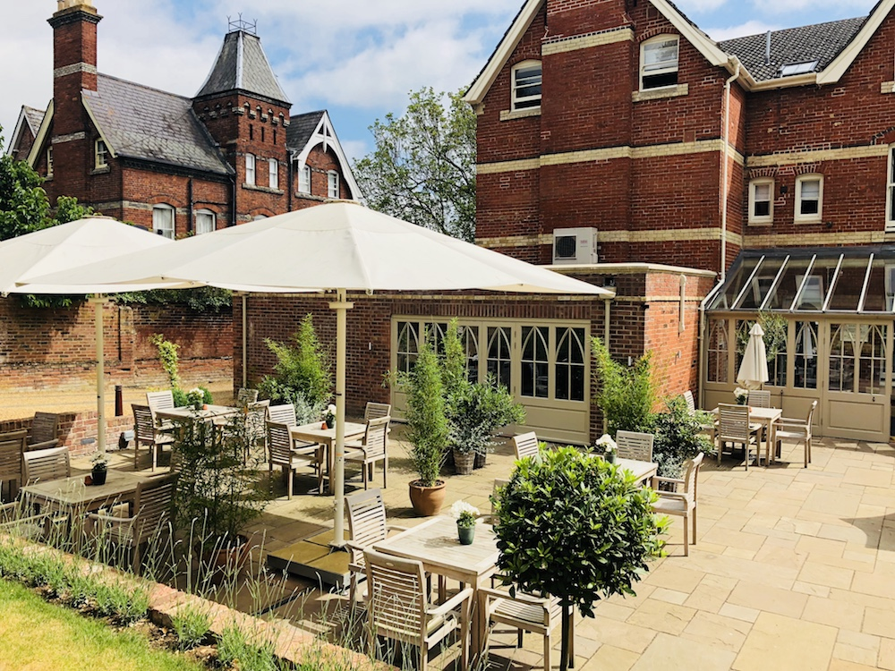 Georgian hotel garden parasols and tables