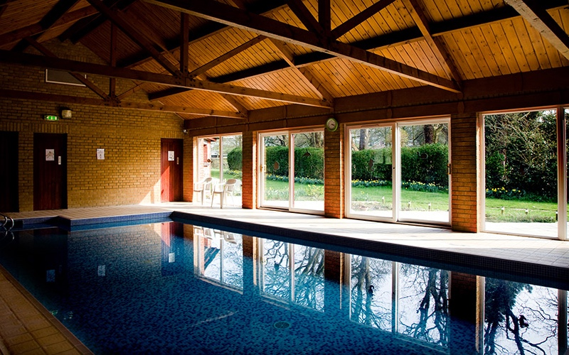 blue swimming pool wooden beamed ceiling large windows