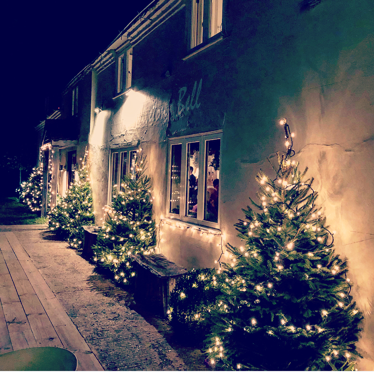 pub with Christmas trees and fairy lights