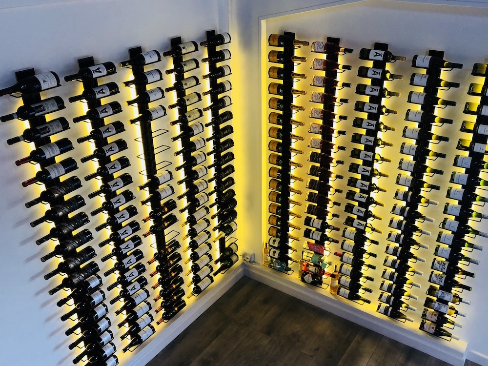 lit wine rack