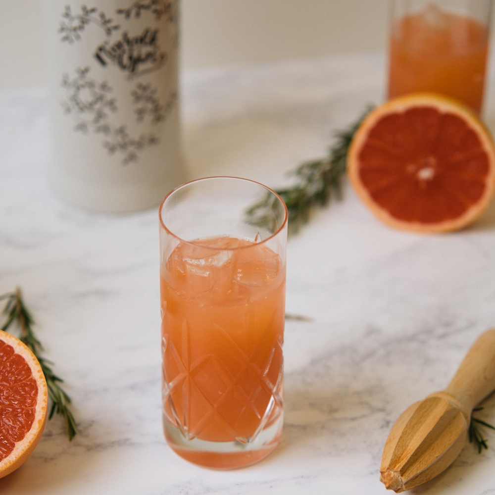 pink gin high glass grapefruit and rosemary