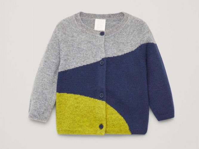 grey blue yellow kids cardigan