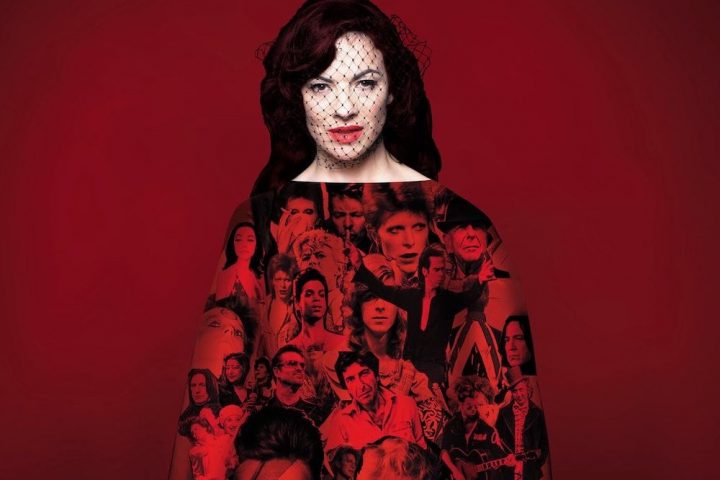 Camille O'Sullivan in a red dress covered in faces