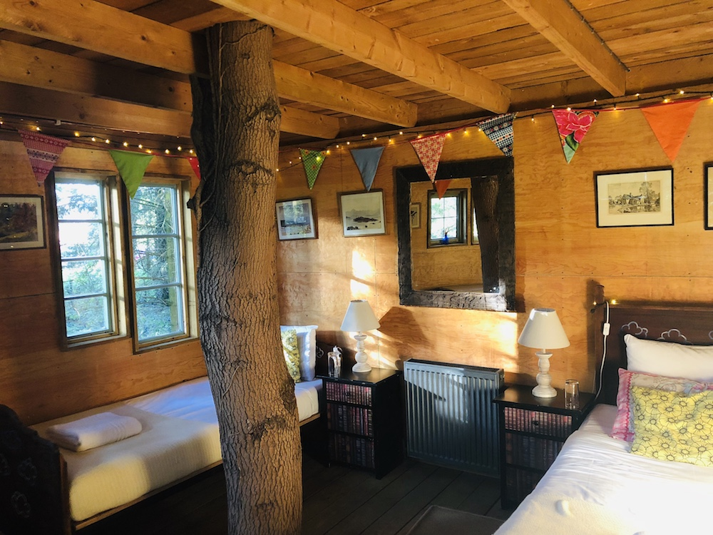 wooden room with coloured bunting two single beds window tree growing through the room