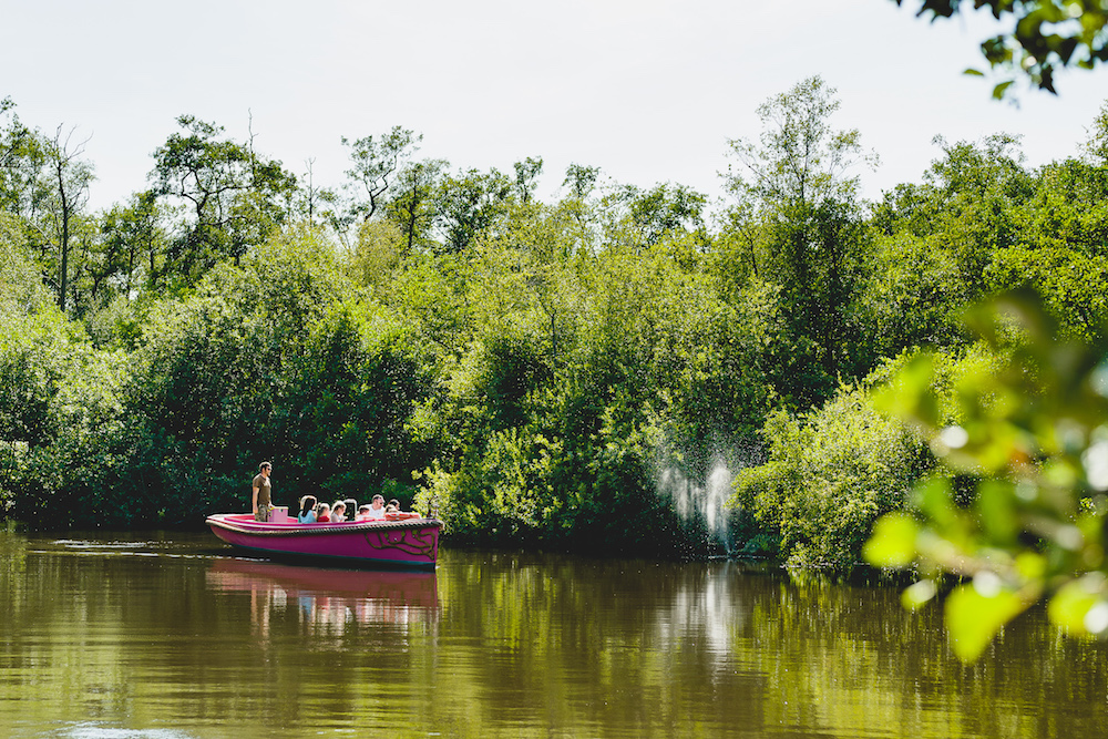pink boat on a lake surrounded by green trees