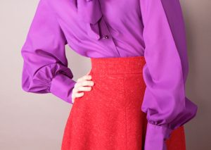 vintage purple shirt and red skirt