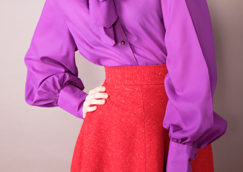 purple vintage shirt and red aline skirt