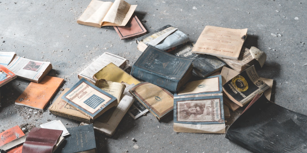 old books on the floor