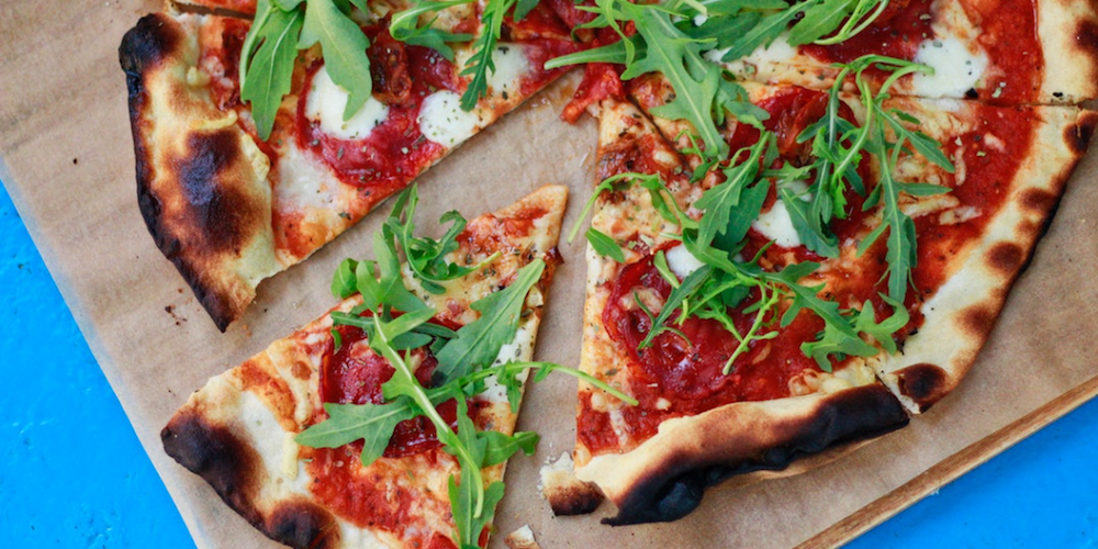pizza with mozzarella and rocket