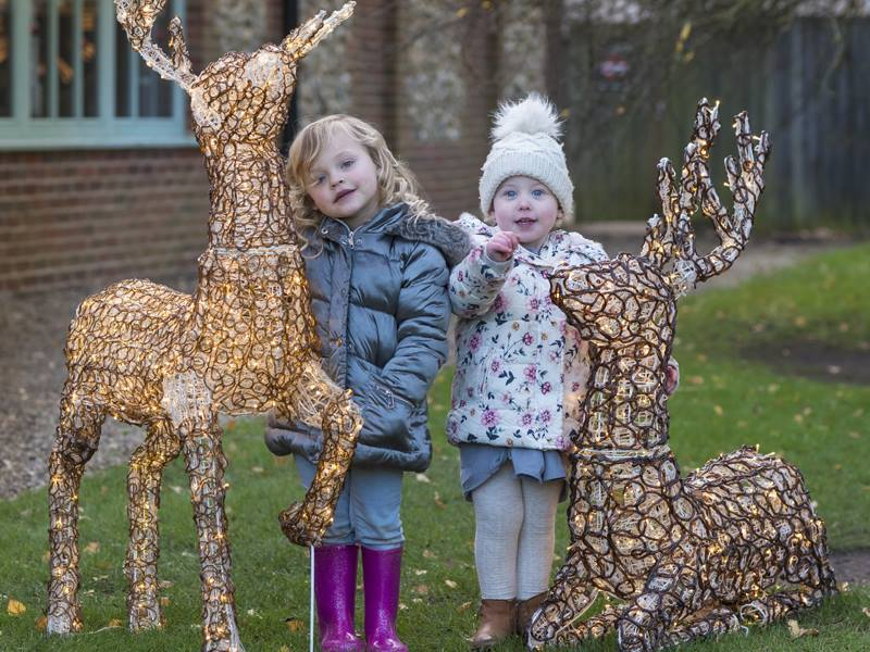 two small girls with reindeer