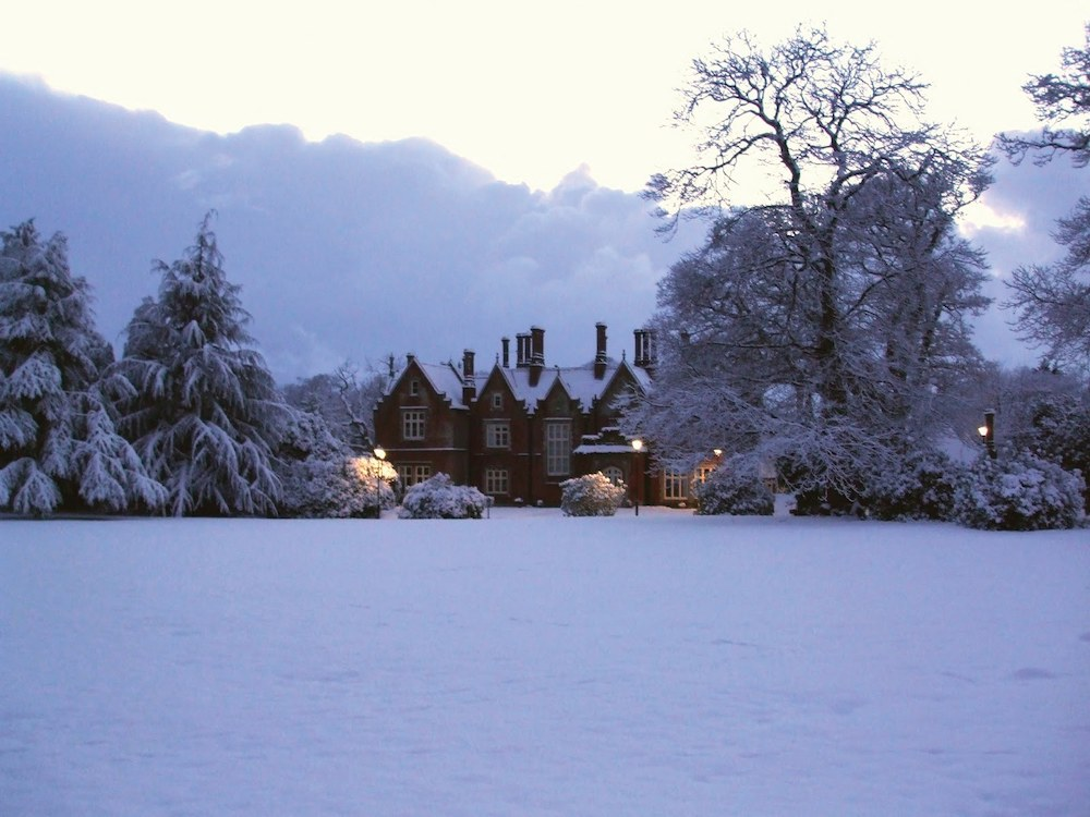 Holt hall in the snow