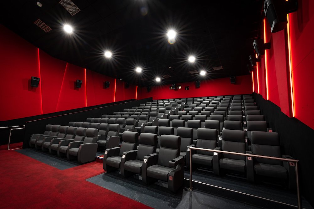 red cinema with black leather seats