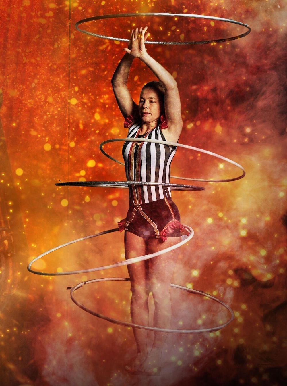 lady spinning hoops