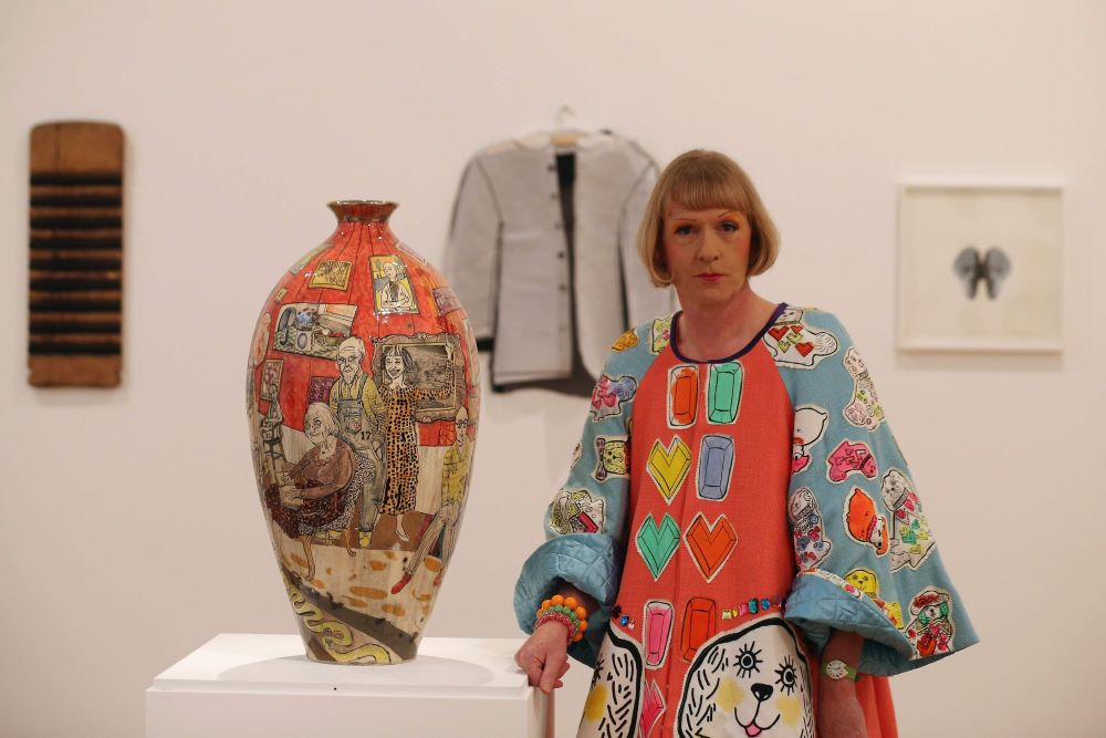 Grayson Perry with his art